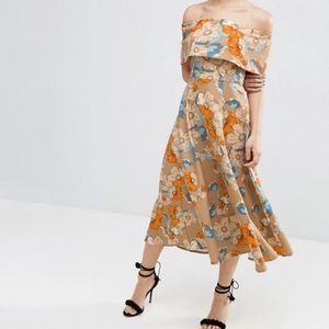 ASOS Gold Floral Off The Shoulder Bardot Dress